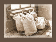 Grist Mill Drawings Posters - Flour Sacks At Upper Canada Village in Sepia Poster by Joyce Geleynse