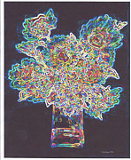 Abstract Vase Flower Print Prints - Flourescent Bouquet Print by Fred Jinkins