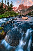 Alpenglow Prints - Flow Below The Glow Print by Mike Berenson