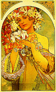 High Society Posters - Flower 1897 Poster by MotionAge Art and Design - Ahmet Asar