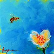 Bee Art Posters - Flower and a Bee Poster by Patricia Awapara