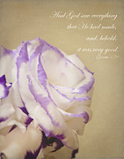 Bible Photo Posters - Flower and Bible verse Poster by Ivy Ho