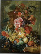 Blue Grapes Posters - Flower and Fruit Piece Poster by Jan Van Huysum