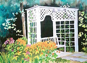 Arbor Paintings - Flower Arbor with Bench - Mill Creek Park by Laurie Anderson