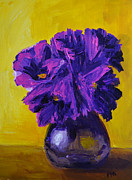 Interior Design Painting Posters - Flower arrangement with purple flowers and yellow background Poster by Patricia Awapara