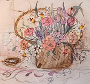 King James Prints - Flower Basket Print by Anna Sandhu Ray