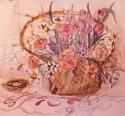 Most Popular Paintings - Flower Basket II by Anna Sandhu Ray