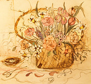 King James Prints - Flower Basket III Print by Anna Sandhu Ray