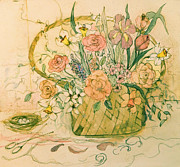 King James Prints - Flower Basket IIII Print by Anna Sandhu Ray