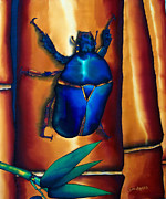Textile Art Tapestries - Textiles Framed Prints - Flower Beetle and Bamboo Framed Print by Daniel Jean-Baptiste
