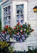 Clapboard House Framed Prints - Flower Boxes at the Ocean Framed Print by Shelley Koopmann