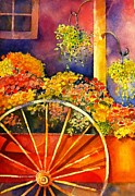 Wagonwheel Prints - Flower Cart Print by Sandy Siebold