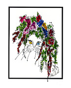 British Portraits Drawings Prints - Flower Cat I Print by Elia Peters