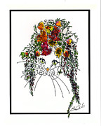 British Portraits Drawings Prints - Flower Cat II Print by Elia Peters