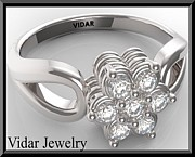 Featured Jewelry - Flower Diamond 14k White Gold Engagement Ring by Roi Avidar