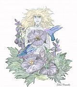 Yellow Leaves Drawings Posters - Flower Fairy Poster by Ellen Henneke