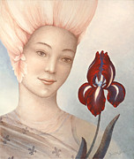Spiritual Portrait Of Woman Paintings - Flower Fairy by Judith Grzimek
