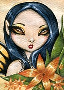 Fantasy Painting Metal Prints - Flower Fairy Kasumi Metal Print by Elaina  Wagner