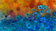 Blue Flowers Posters - Flower Fantasy in Blue and Orange  Poster by Ann Powell
