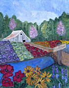 Red Poppies Drawings - Flower Farm by Ella Kaye