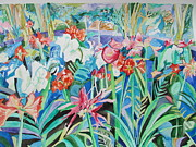 Impressionism Acrylic Prints Art - Flower Festival in Blue by Esther Newman-Cohen
