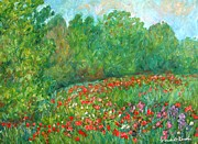 Field Of Flowers Paintings - Flower Field by Kendall Kessler