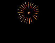 Yellow Fireworks Prints - Flower Fireworks Print by Robert Bales