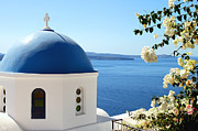 Eastern Orthodox Photos - Flower Framed Church Santorini Greece by Carole-Anne Fooks
