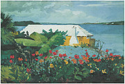Tropical Flower Painting Posters - Flower garden and Bungalow Bermuda Poster by Winslow Homer