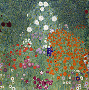 Green Leaves Posters - Flower Garden Poster by Gustav Klimt