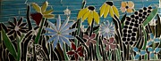 Garden Glass Art Framed Prints - Flower Garden Framed Print by Kathy Mote