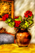 Geraniums Posters - Flower - Geraniums on a table  Poster by Mike Savad