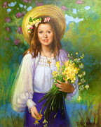 Janet Mcgrath Metal Prints - Flower Girl Metal Print by Janet McGrath