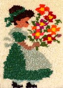 Girl Tapestries - Textiles Posters - Flower Girl Poster by Jean Baardsen