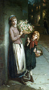 Long Street Framed Prints - Flower Girls a Summer Night Framed Print by Augustus Edwin Mulready