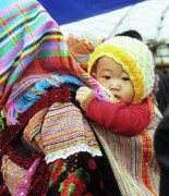 Southeast Asian Prints - Flower Hmong Baby 04 Print by Rick Piper Photography