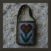 Seed Beads Framed Prints - Flower Jewelry Bag Framed Print by Barbara St Jean
