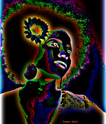 African-american Digital Art Prints - Flower Print by LaShanna  Cooper