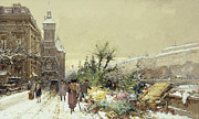 Snow Covered Street Framed Prints - Flower Market Marche aux Fleurs Framed Print by Eugene Galien-Laloue