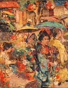 Asian Market Paintings - Flower Market - Nagasaki by Pg Reproductions