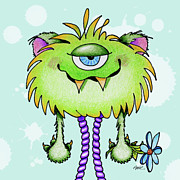 Color Pencil Prints - Flower Monster Print by Annie Troe