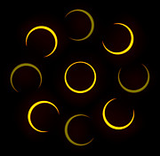 Solar Eclipse Digital Art Metal Prints - Flower of Fire Metal Print by Joel Loftus