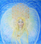 Spiritual Portrait Of Woman Paintings - Flower Of Life Angel by Lila Violet
