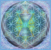 Merging Digital Art Prints - Flower of Life Forested Chalice in Subtle BlueLavs Print by Christopher Pringer