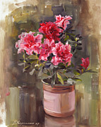 Azalea Posters - Flower of red azalea Poster by Victoria Kharchenko