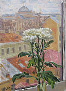St Petersburg Prints - Flower on the penthouse Print by Victoria Kharchenko