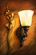 Orchids Art Posters - Flower - Orchid -  By a near by lamp  Poster by Mike Savad