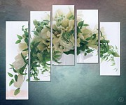 Flowers On White Background Prints - Flower panels Print by Gun Legler