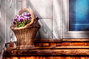 Baskets Posters - Flower - Pansy - Basket of flowers Poster by Mike Savad