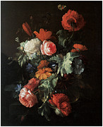 Carnation Painting Prints - Flower Piece Print by Elias Van Den Broeck